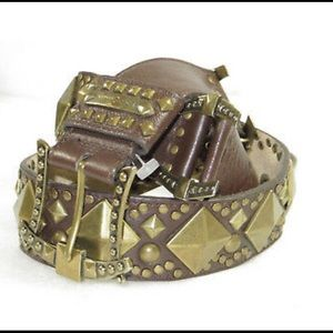 BETSEY JOHNSON studded  linked leather belt SZ S